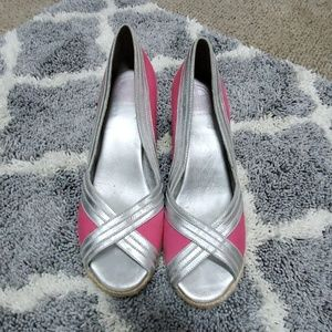 Lilly Pulitzer pink and silver wedges